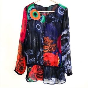 {DESIGUAL} Long Sleeve Button Front Sheer Top